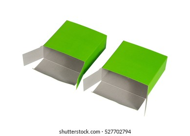 Two green Box with lid open or green paper package box isolated on White background