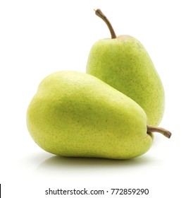 Two green pears isolated on white background