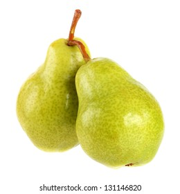two green  pears on a white background