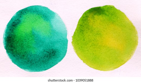 two green round circle abstract watercolor on white background