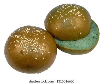 Two green sesame buns for hamburger