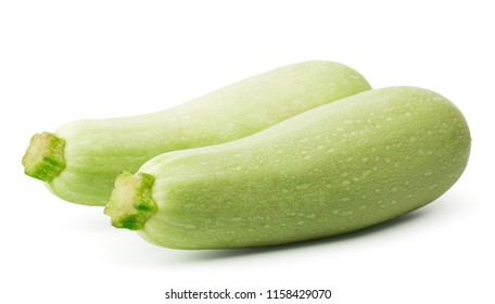 Two green zucchini closeup on a white background.