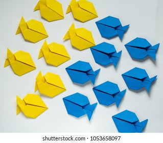 two groups of blue and yellow origami fish moving in differrent directions on white background. conflict of interest team work  and negotiations concept.