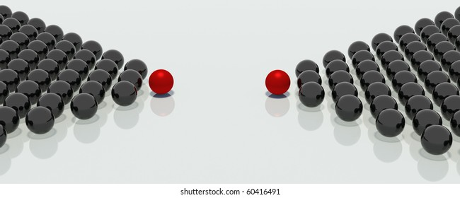Two groups of mirror balls in the shape of arrows and headed with the red balls, indicate a single point in space