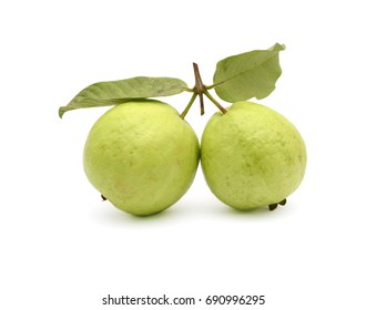 Two guava fruit with leaf isolated on white background