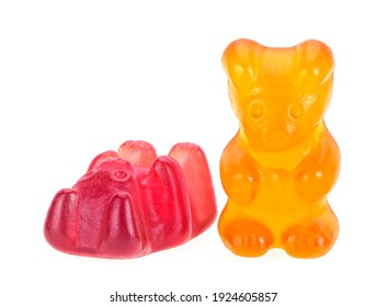 Two gummy bears isolated on a white background. Jelly bears candies.