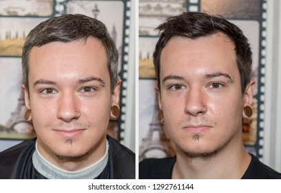 two guys before after at the barbershop: one with gray hair, the other dyed, he has black hair. Concept for beauty salons
