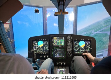 Superb Two Guys Flying On Helicopter Simulator