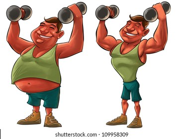 two guys, one fat and another strong with Dumbbells