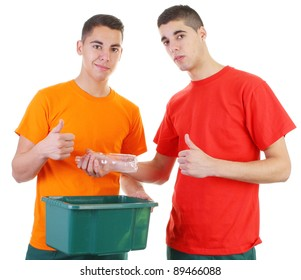 two guys recycling plastic bottle
