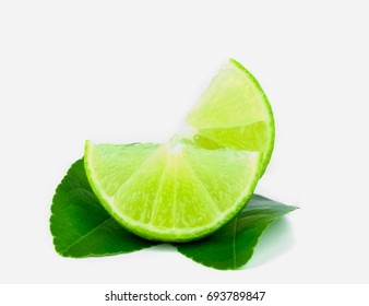 Two half lemons of the leaf on a white background,Medicinal plants for cooking,The drink is sour,maintain one's health.