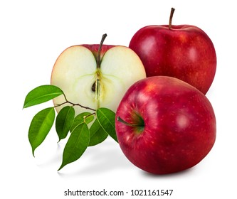 Two and a half ripe apples (Red Delicious) with leaves on white background.