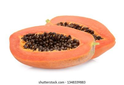 two half sliced ripe papaya fruit isolated on white background