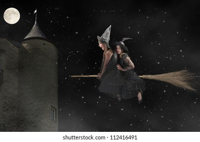 two halloween witches flying on a broom