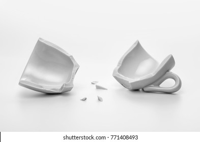 two halves of broken cup, disintegration or accident concept