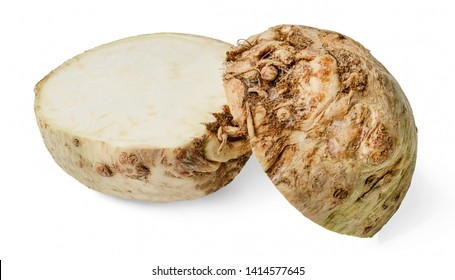 Two halves of cut celery root isolated on white background. Close-up. Side view.