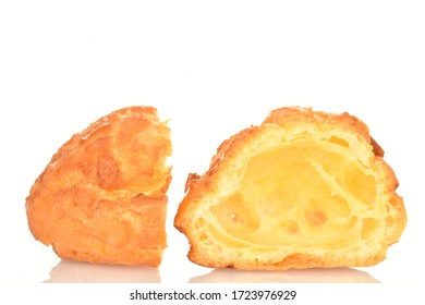 Two halves of delicious fragrant chouquettes on a white background.