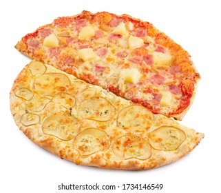 Two halves of different tasty delicious italian pizza isolated on white. Pizza with cheese, pineapple, salami, pear and sauce.