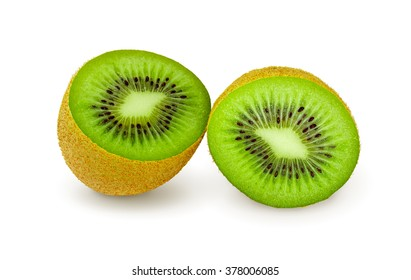 Two halves of juicy kiwi fruit on a white background, with clipping path.