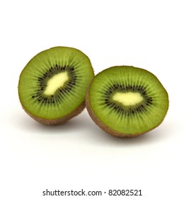 Two halves of a kiwi over white