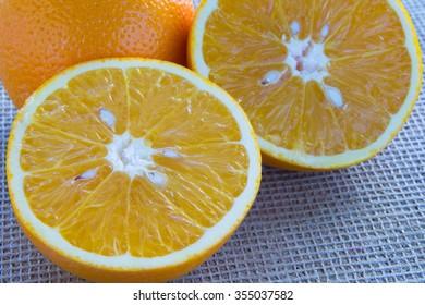 Two halves of orange close-up
