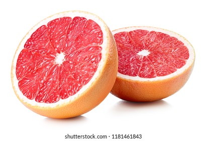 Two halves of perfectly retouched grapefruit isolated on white background