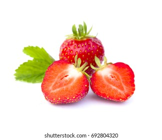 two halves red strawberry with green leaf on white background