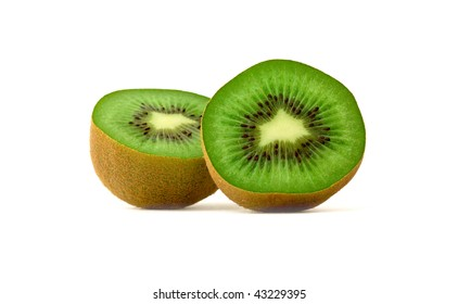 Two halves of ripe kiwi. Isolated.