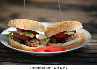 two hamburgers homemade