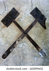 two Hammer, vintage miner symbol, germany