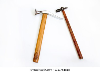two hammers on white background