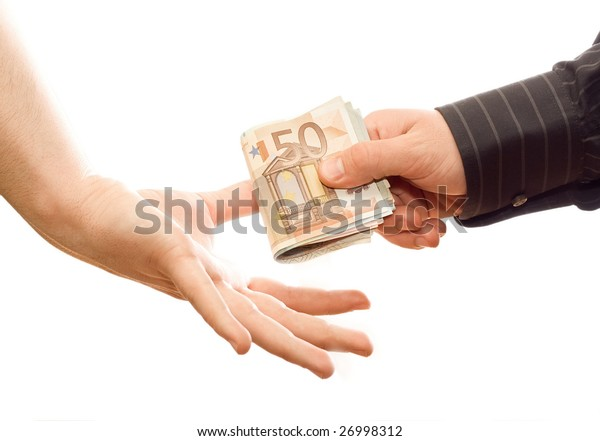 Two hand changing money, isolated in white background