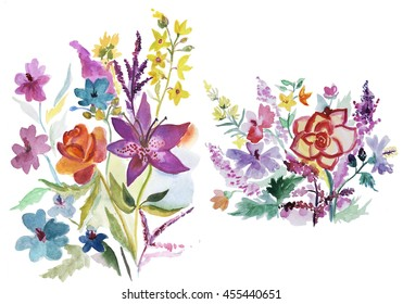 Two hand drawn watercolor bouquets in colorful bright colors.