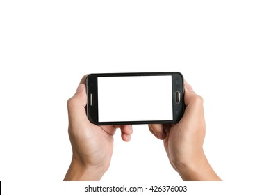 two hand hold empty white screen mobile phone isolated on white background