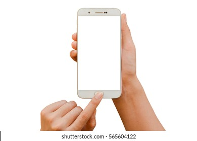 Two hand hold smartphone white screen and white background - isolated