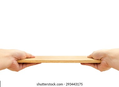Two hand holding food plate made from wood isolated on white background, Template mock up for adding your product and leave space for adding content , Clipping path on object.