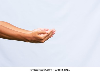 Two hand holding  isolated on white background