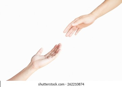 Two hand isolated on white background support.