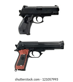 two handguns is isolated on white