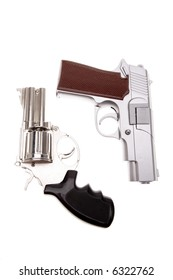 Two handguns isolated over white