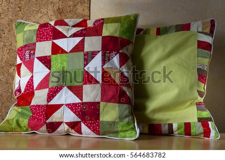 two handmade quilted cushions christmas star stock photo edit now rh shutterstock com