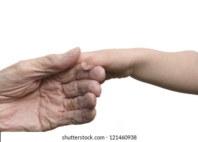 Two hands coming together, five generations away.
