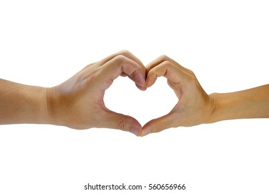 Two hands create a heart on isolated white background. Symbol of Valentine's Day. Symbol of love. Symbol of heart health.