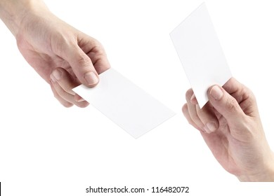 two hands exchanging blank bussiness cards on white background