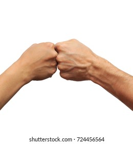 two hands with fists on a white background