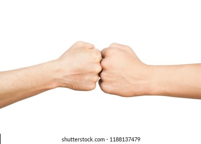 The two hands folded into fists face each other, bump against, they seem to struggle, show a competition on a white background. Isolated. Copy space