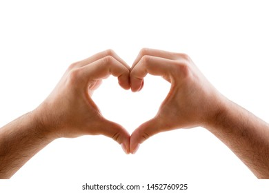 Two hands in the form of heart isolated on white background with clipping path
