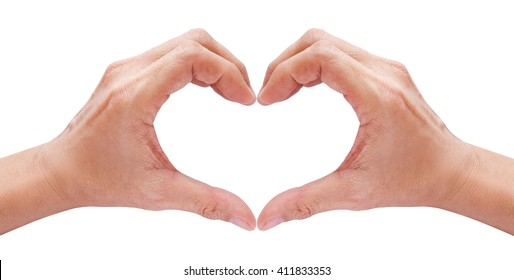 two hands forming a heart on white background