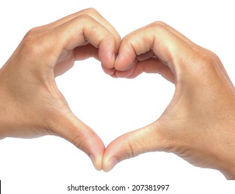 two hands forming a shape of a heart / Love