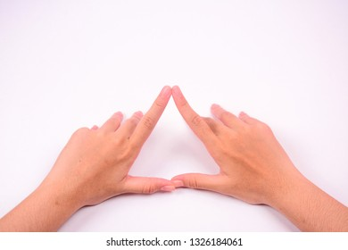 Two hands forming a triangle shape isolated against white background.